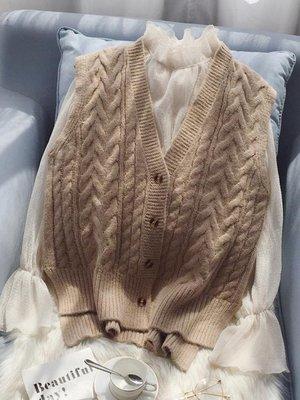 秋冬新款2018毛衣馬甲女寬鬆韓版短款V領針織衫背心外套無袖開衫