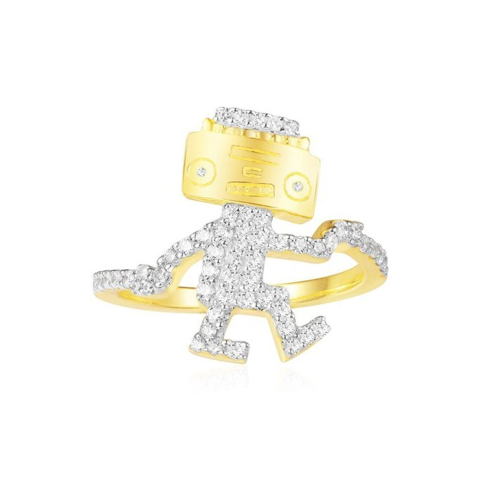 安安精品 保證正品!林志玲同款金黃色純銀鑲晶鑽跳舞機器人戒指A18523OXY