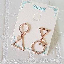 【閃亮芝蘭 】0140  耳環 正韓 飾品 針式 銀針 玫瑰金色