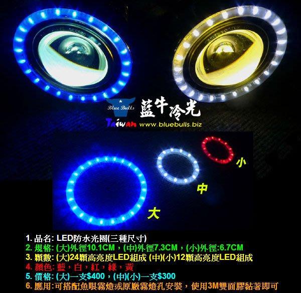 【藍牛冷光】LED 光圈 全防水封裝 可搭配H3 H7 H11魚眼霧燈 圓孔霧燈 風扇燈 排氣管燈 SWIFT FIT