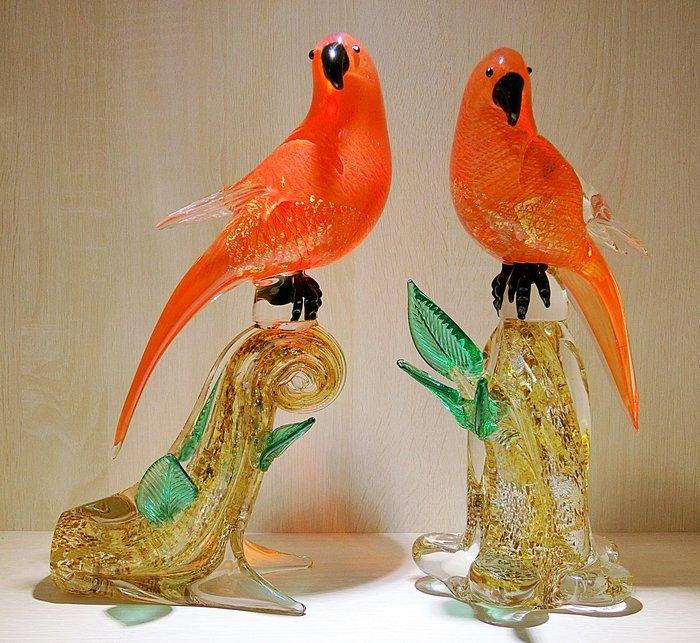 【藝晶香琉璃藝術工坊】手工琉璃 林大師 作品四倍金箔大紅鸚鵡一對、琉璃、藝術品、擺飾、擺件、大氣
