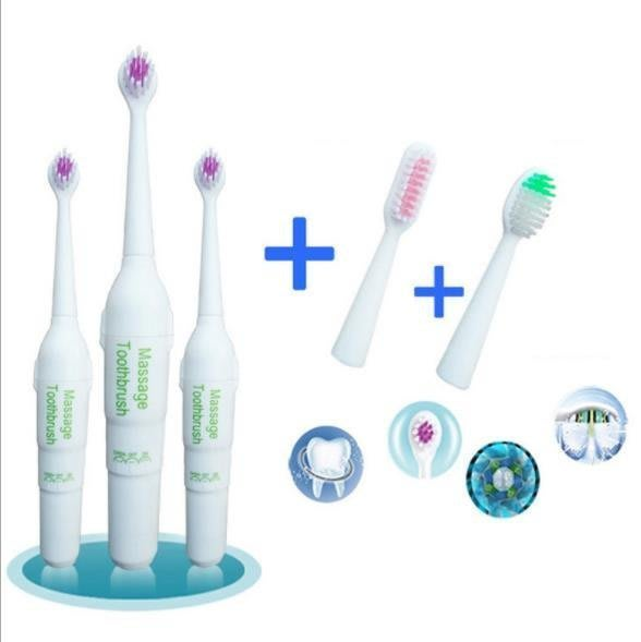 【嫚嫚】電動牙刷 便攜家用外出 超聲波按摩可換頭 軟毛中毛三個頭 兒童美白護齒清新口氣電動牙刷H1