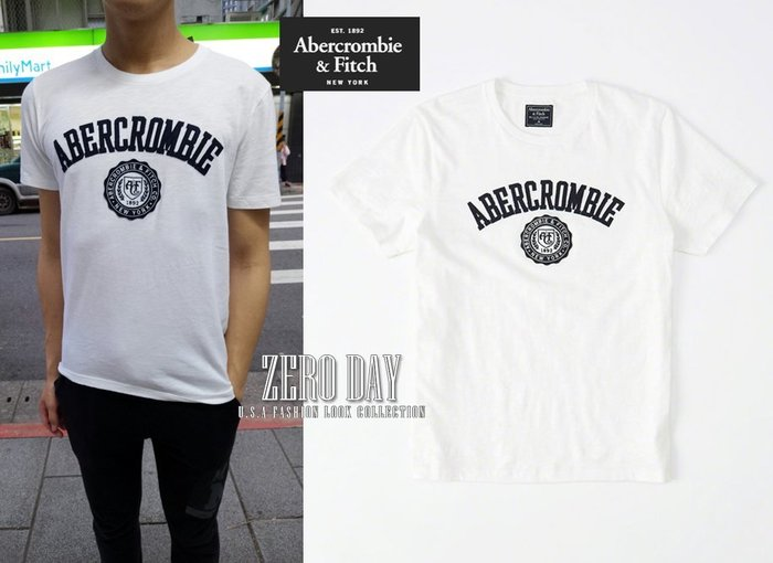零時差美國時尚網A&F真品Abercrombie&Fitch Applique Logo Graphic Tee短T-白