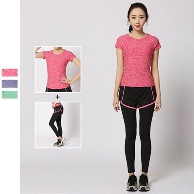 瑜珈 服 兩件套 運動 套裝-假兩件速乾排汗時尚女健身衣3色73mt7[獨家進口][米蘭精品]