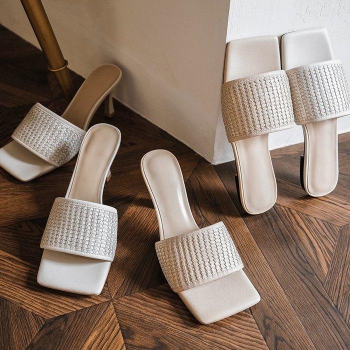 『真皮世家』歐美時尚外穿細高跟編織涼拖鞋女夏2020新款真皮拖鞋方頭一字半拖