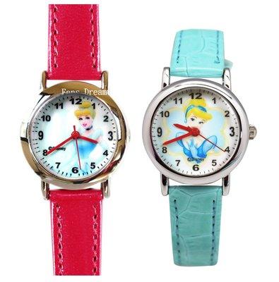 【卡漫迷】 灰姑娘 卡通錶 二款選一  ㊣版 仙杜瑞拉  手錶 Cinderella 兒童錶 公主 女錶 皮革錶 迪士尼