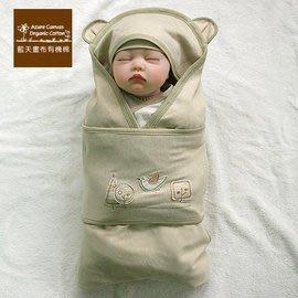 【魔法世界】⊙藍天畫布⊙100%有機棉 (柔適系列)嬰兒肚圍包巾-彩綠,和平樹貼布繡圖