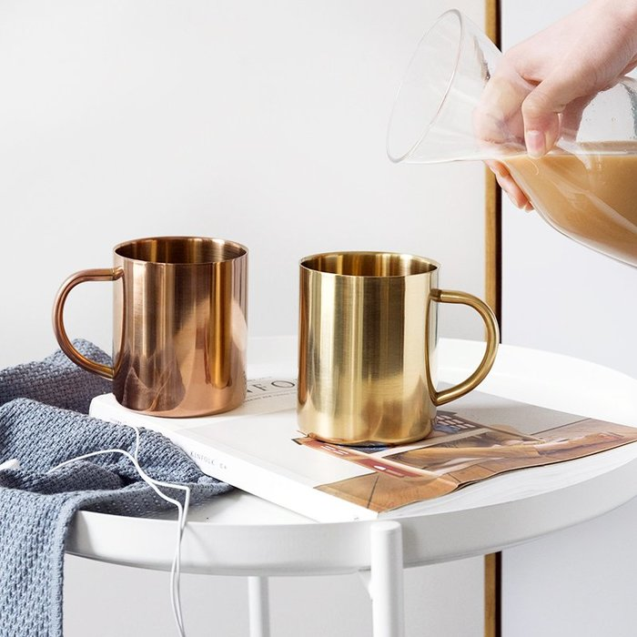 【Uluru】北歐 不鏽鋼 金色 馬克杯 咖啡杯 杯子 水杯 早午餐 甜點店 餐廳 loft zakka 工業 鍍銅