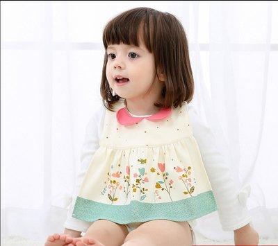 艾町Eyeing Shop 外貿日本原單正品防水女寶寶兒童嬰兒純棉造型圍兜裙 防水裙式圍兜 可調節  口水巾