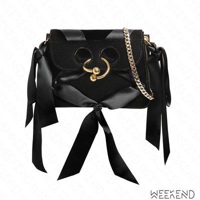 【WEEKEND】 J.W.ANDERSON Mini Pierce 穿孔 金屬環 鍊條 肩背包 麂皮 緞帶 黑色