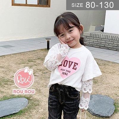 韓版女童短袖T恤。ROUROU童裝。夏女童中小童假兩件蕾絲長袖 短袖T恤 0211-514