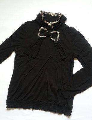 Kinloch Anderson金安德森全新黑色經典滾格立領蝴蝶結點綴袖口及腰下擺抓皺設計衫