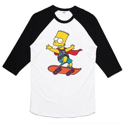 Bart Simpson-Skate 七分袖T恤-白黑色 街頭潮流滑板辛普森霸子