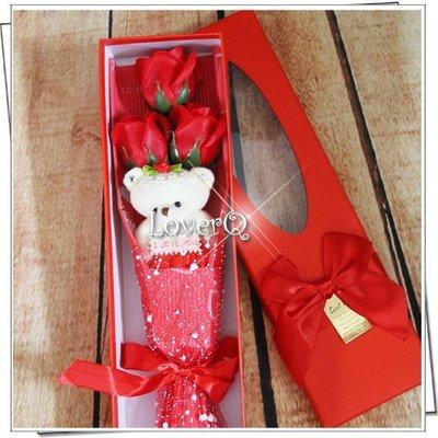 樂芙LoverQ * 母親節 三朵小熊玫瑰花束 贈禮盒 * 玫瑰 精油 香皂花束 康乃馨花束 畢業熊 情人節花束