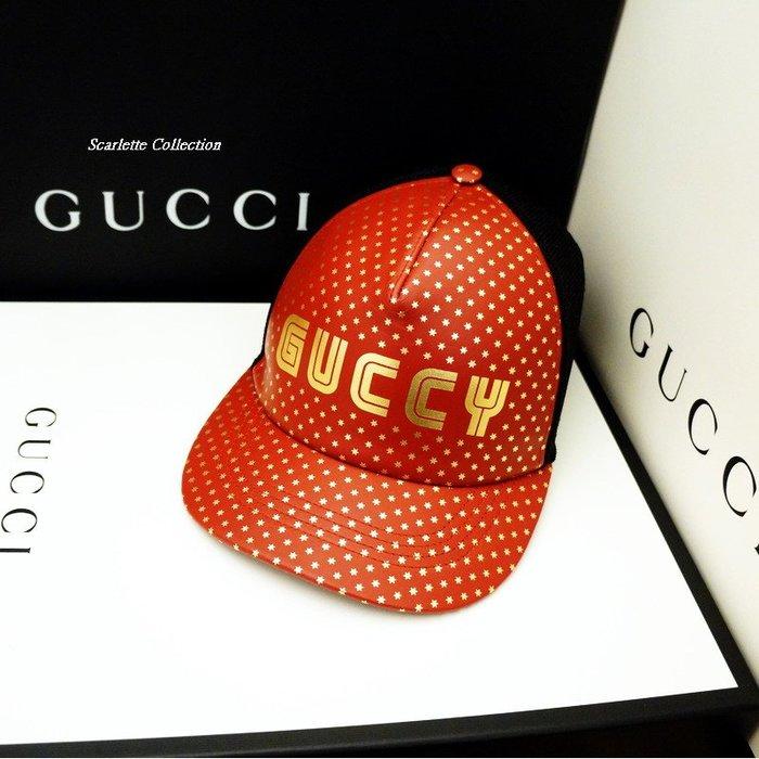 Scarlette Collection【名品館】3.5折只上架一次GUCCI專櫃真品蔡依琳限量GUCCY真皮棒球帽