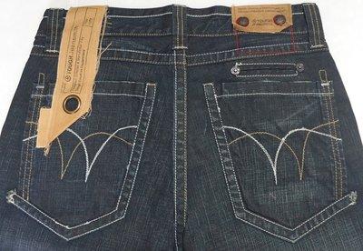【兒童節前任2件折150】香港潮牌 TOUGH JEANSMITH 深藍色 刷紋刷白 直筒褲 32腰 (近全新)