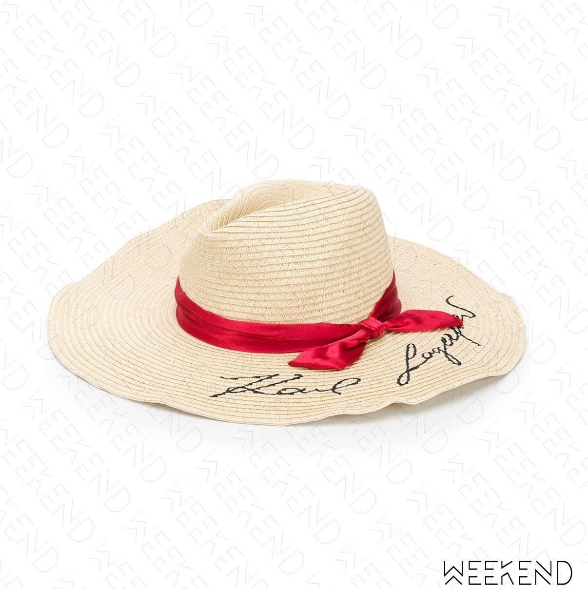 【WEEKEND】 KARL LAGERFELD Signature Fedora 卡爾 簽名 帽子 草編帽 19秋冬