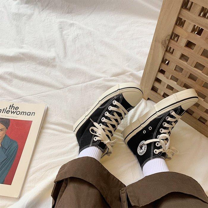 小尤家~春季新款日系ulzzang高幫帆布鞋女韓版學生休閑街拍板鞋潮