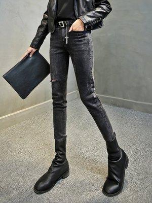 Fashion*小腳牛仔褲 韓版修身顯瘦女士鉛筆褲 waitmore牛仔褲『黑灰色』