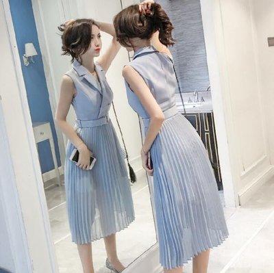 正韓洋裝 韓版OL氣質西裝領無袖收腰中長款雪紡洋裝 A字連身裙—莎芭