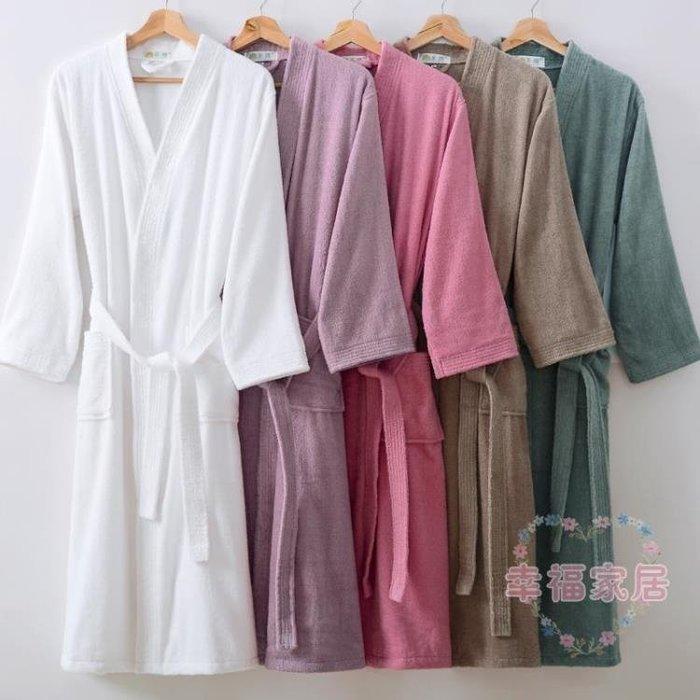 浴袍棉質毛巾料秋冬季女情侶吸水睡袍男全棉加長浴衣