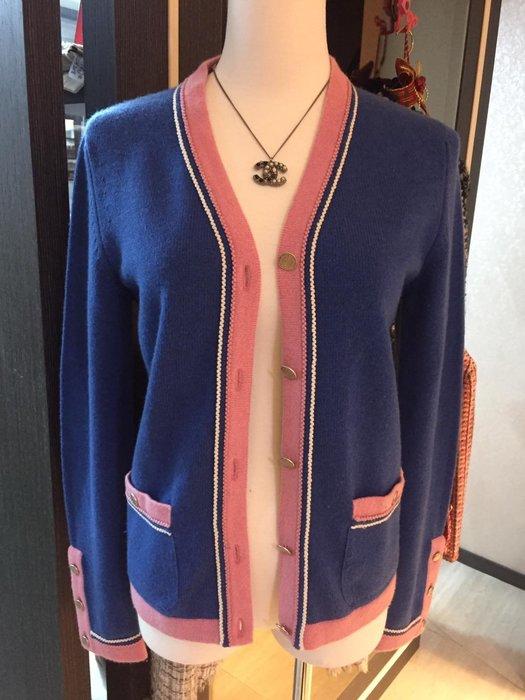 典精品名店 Chanel 真品 雙C 開襟外套 100%Cashmere 尺寸 36 現貨