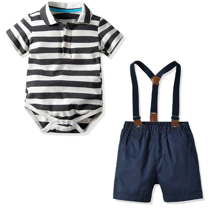 爆款夏季男款 童裝 純棉短袖爬服背帶短褲三件套