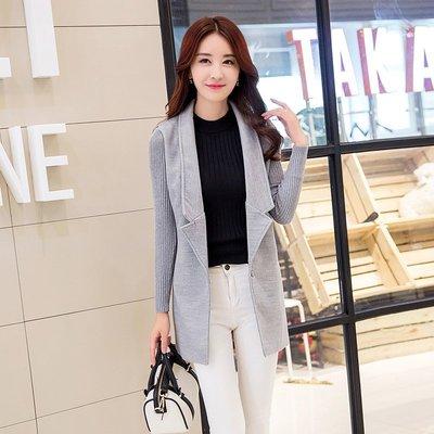 =EZZ=W6061 影妮妮 韓國 首爾精品 東大門同步上新 2015冬季韓版毛呢大衣拼接針織長袖中長款女士修身外套