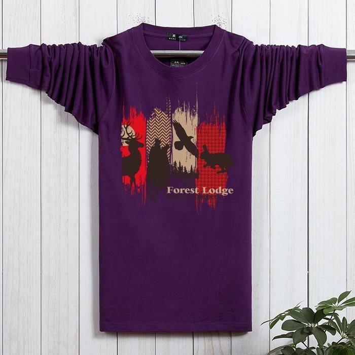 秋季新款男士純棉秋衣加大加肥碼胖人秋衣T恤潮服時尚簡單寬鬆--誘貨