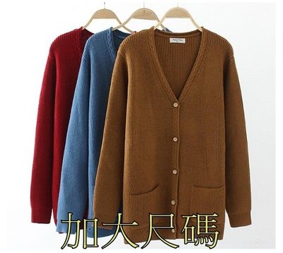 E185 秋季大尺碼韓版百搭純色V領秋季短款長袖麻花外套