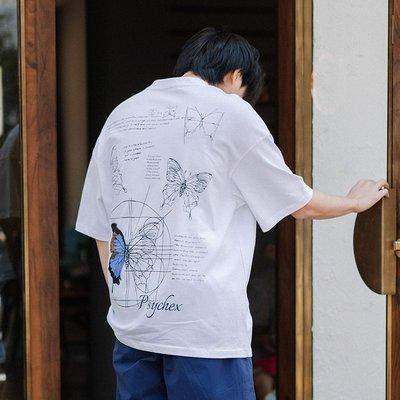 LKSTORE Psyche 潮牌夏季蝴蝶注釋印花T恤男寬松短袖純棉情侶半袖