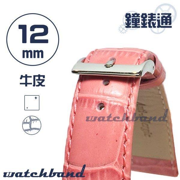 【鐘錶通】C1.26I《亮彩系列》鱷魚格紋-12mm 櫻花粉┝手錶錶帶/皮帶/牛皮錶帶┥