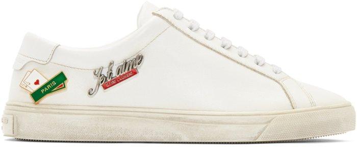 ~The Black Dan Moccani~ [六折] YSL 聖羅蘭 Andy 別針洗舊 精品低筒球鞋/小白鞋