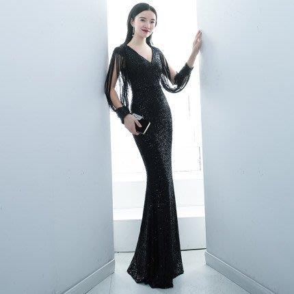 妞妞 婚紗禮服~流蘇袖亮片魚尾修身顯瘦長禮服~3件免郵