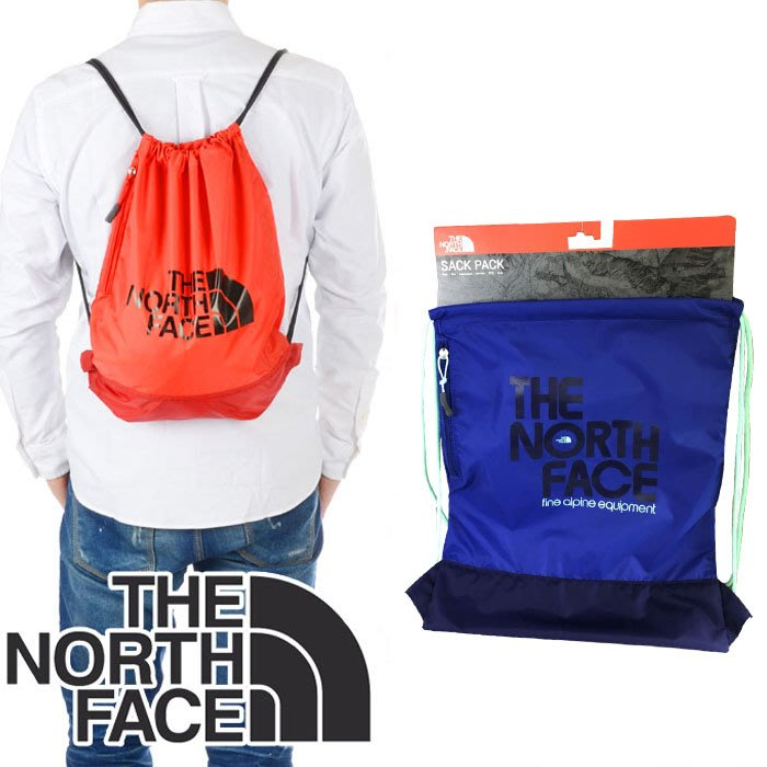 The North Face 輕便包/後背包 側邊拉鍊 束口後背 背袋 藍  34x41公分