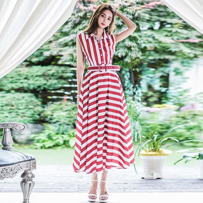 洋裝 #2066 ?Mini Moda? 襯衫連身裙  條紋無袖長裙