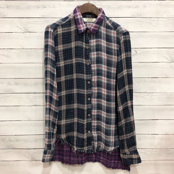 Maple麋鹿小舖 American Eagle * AE 拚接風不修邊設計格紋長袖襯衫 *( 現貨XS/S/M號 )