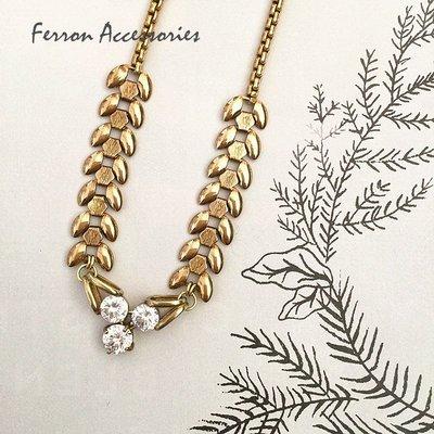 Ferron Accessories    E111  三圓鑽個性項鍊  訂製 Handmade 復古 歐美 黃銅