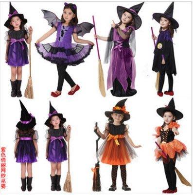 艾莉小舖 萬聖節服裝歐美兒童演出服 小惡魔 cosplay服裝 童裝女童 巫婆 巫師 表演服