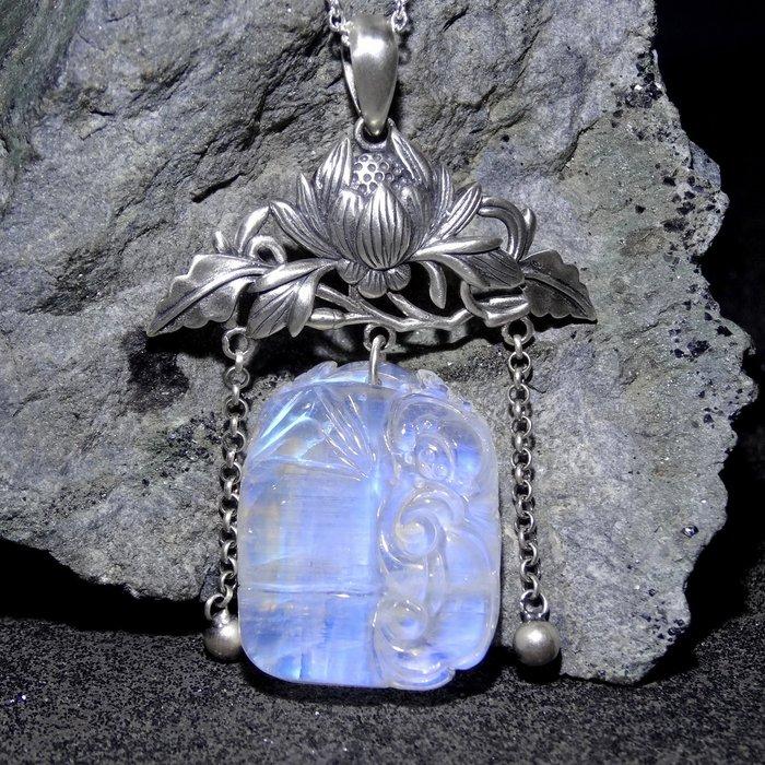 【善觀手作精品】墜子 月光石 925銀 項鍊 竹子 靈芝 牡丹花 寶石 設計 手工 手創 飾品 首飾