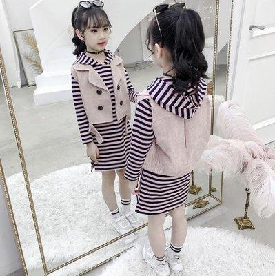韓版 女童套裝 童裝中大童5-15歲 潮連帽洋裝 條紋衛衣裙馬甲背心兩件套 莎芭