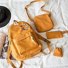 正韓飛機後背包女校園純色可愛初中休閒帆布學生書包旅行包背包潮 【HOLIDAY】