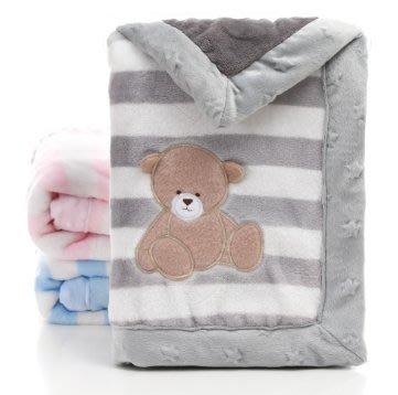 條紋法蘭絨包邊嬰幼兒羊羔絨卡通圖案雙層蓋毯(馨)小615大705