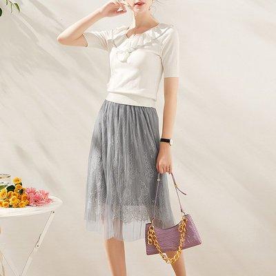 ♈尹愛服飾♈高端3007302氣質木耳邊針織上衣+網紗半裙兩件套裝