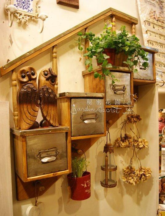 梯形壁櫃--經典南法鄉村風質樸仿舊木作梯形抽屜掛勾壁掛櫃--秘密花園