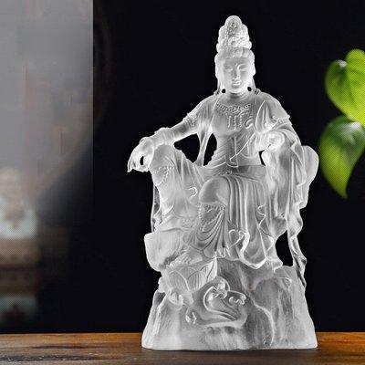 古法琉璃26厘米高觀音菩薩觀自在擺件踏蓮佛像佛堂結緣琉璃擺件