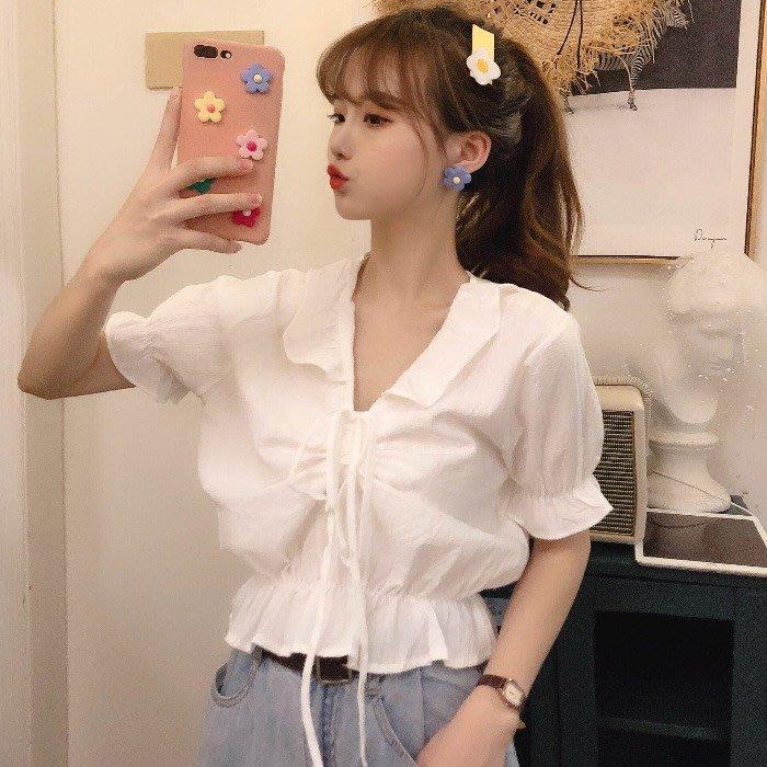 小香風 短袖T恤 時尚穿搭 chic百搭甜美木耳邊抽繩小眾收腰法式泡泡袖襯衫女裝