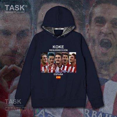 TASK 科克Koke西班牙足球星球衣加絨連帽衛衣男休閑寬松外套