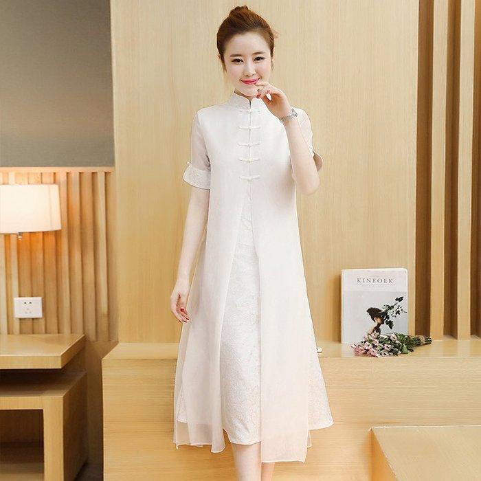 洋裝 雪紡拼接短袖旗袍 改良復古連身裙潮—莎芭