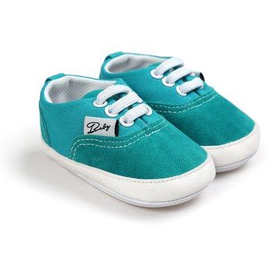 鞋鞋樂園-膠底-時尚藍綠休閒鞋-學步鞋-寶寶鞋-嬰兒鞋-幼兒鞋-學走鞋-童鞋-鬆緊帶設計-坐學步車穿-彌月送禮